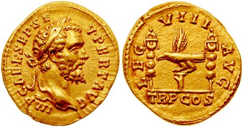 Aureus, moneda bătută de Septimius Severus pentru a onora Legiunea a VIII-a Augusta